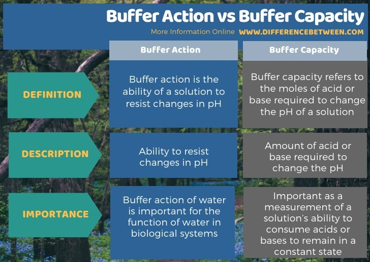 Difference Between Buffer Action and Buffer Capacity in Tabular Form