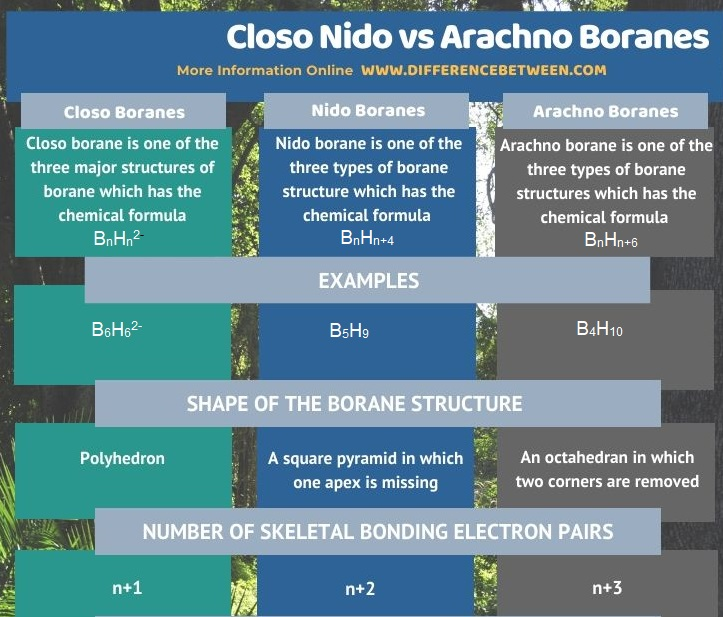 Difference Between Closo Nido and Arachno Boranes in Tabular Form