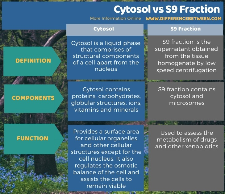 Difference Between Cytosol and S9 Fraction in Tabular Form