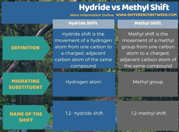 Difference Between Hydride and Methyl Shift in Tabular Form