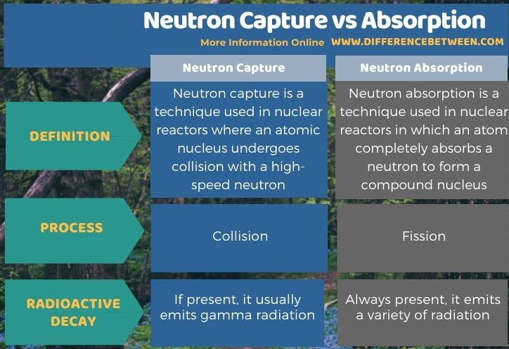 Difference Between Neutron Capture and Absorption in Tabular Form