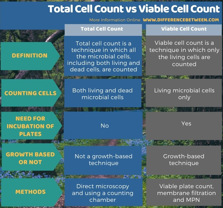 Difference Between Total Cell Count and Viable Cell Count in Tabular Form