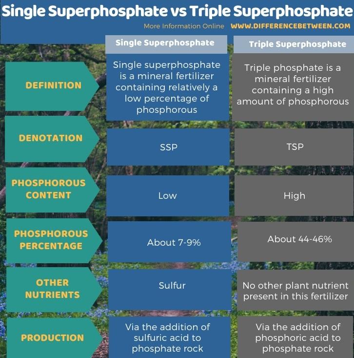 Difference Between Single Superphosphate and Triple Superphosphate in Tabular Form