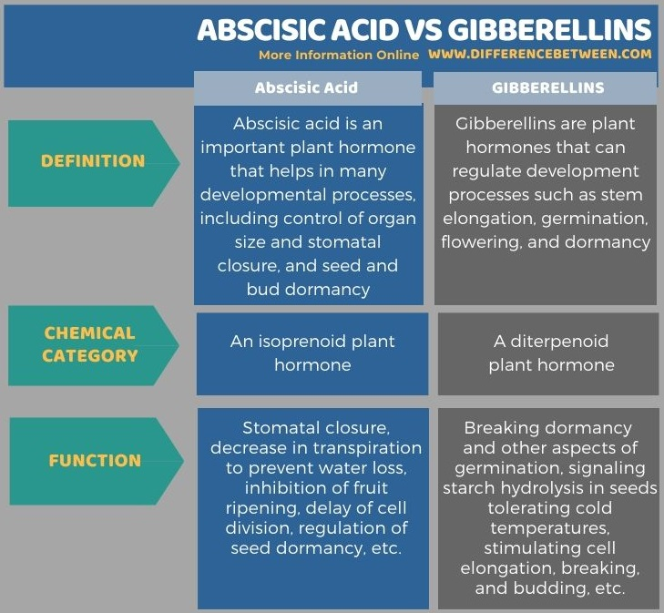 Difference Between Abscisic Acid and Gibberellins in Tabular Form