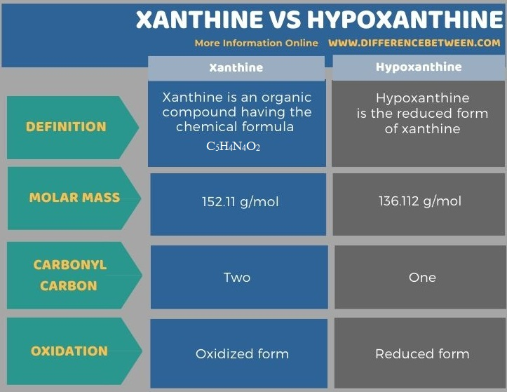 Difference Between Xanthine and Hypoxanthine in Tabular Form