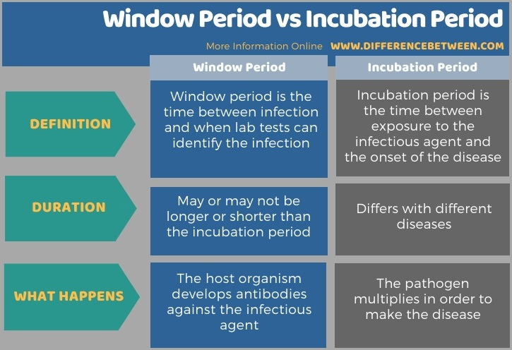 Difference Between Window Period and Incubation Period in Tabular Form