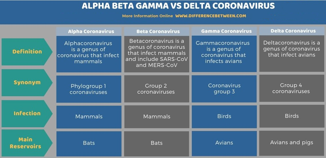 Difference Between Alpha Beta Gamma and Delta Coronavirus in Tabular Form