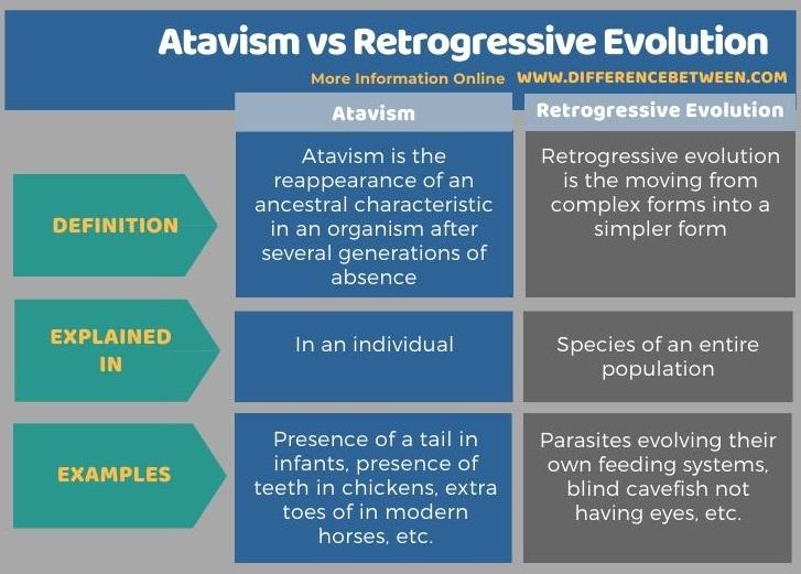 Difference Between Atavism and Retrogressive Evolution in Tabular Form