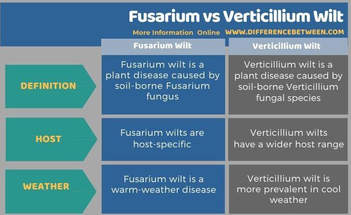 Difference Between Fusarium and Verticillium Wilt - Tabular Form