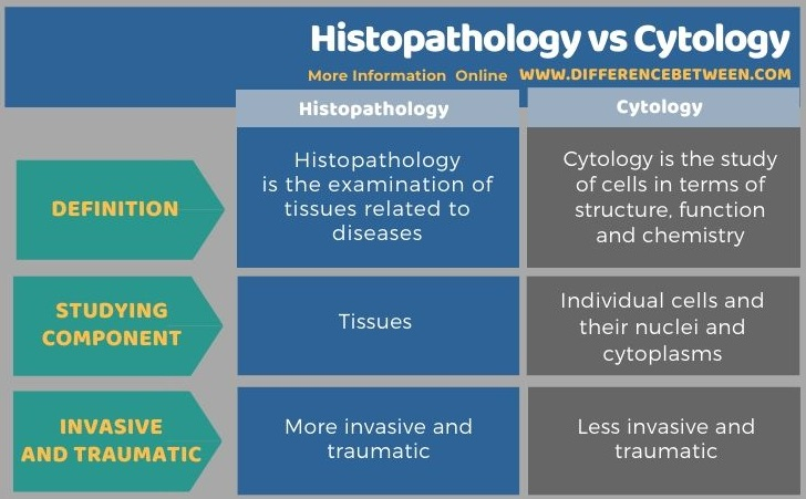 Difference Between Histopathology and Cytology in Tabular Form
