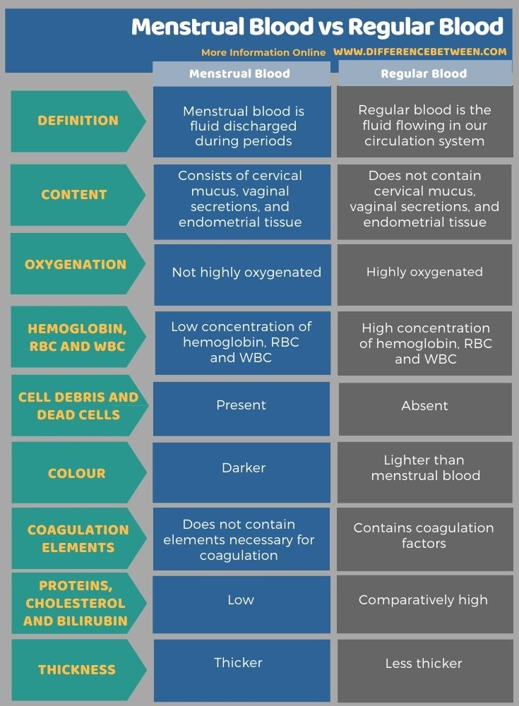 Difference Between Menstrual Blood and Regular Blood in Tabular Form