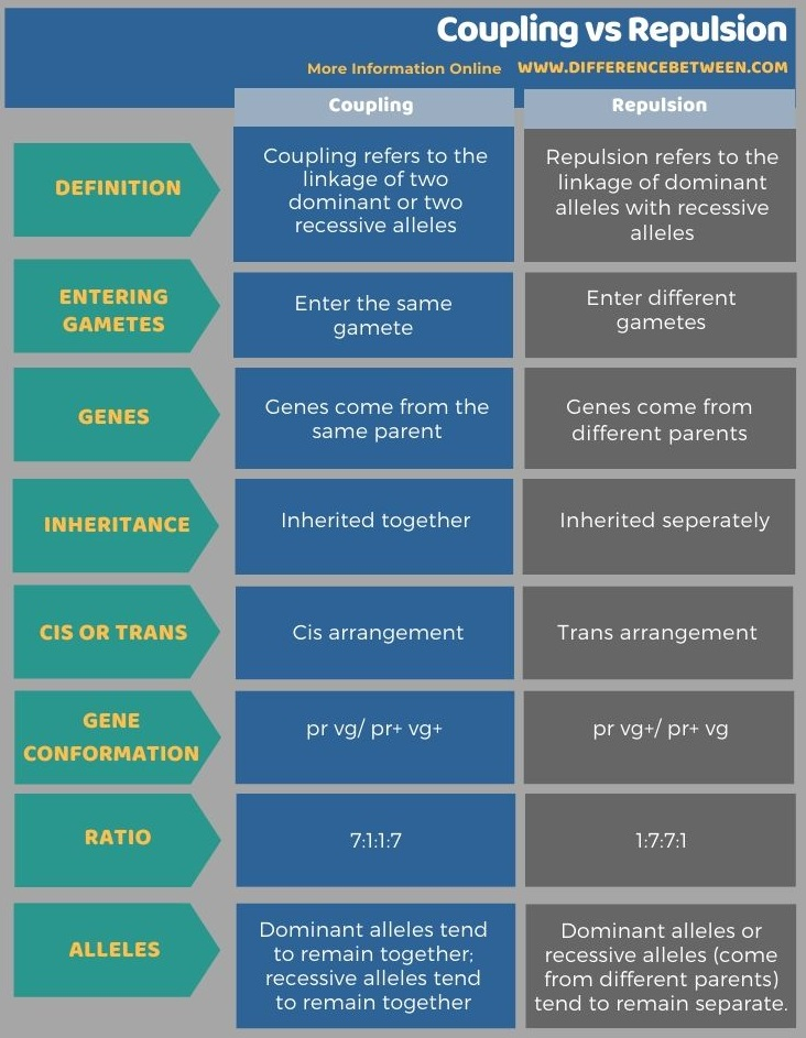 Difference Between Coupling and Repulsion in Tabular Form
