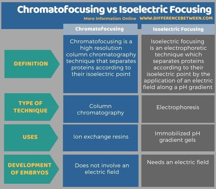 Difference Between Chromatofocusing and Isoelectric Focusing in Tabular Form