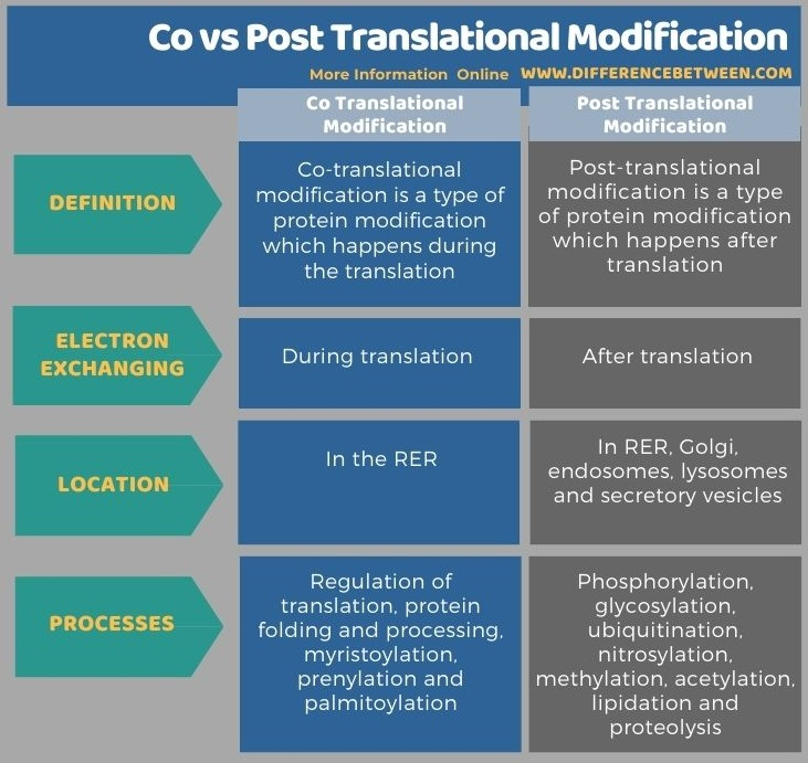 Difference Between Co and Post Translational Modification in Tabular Form