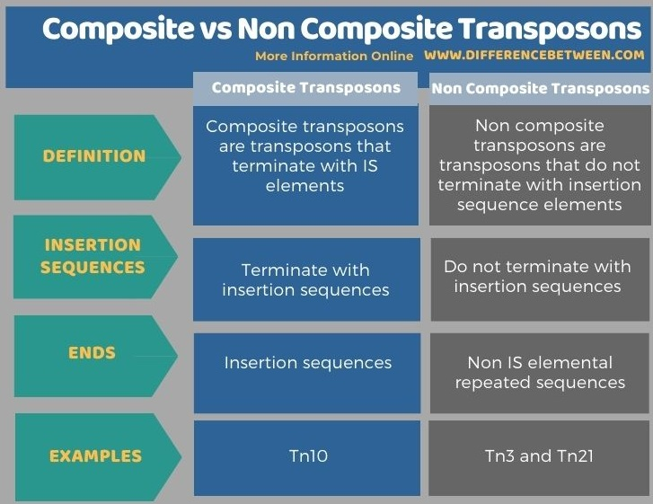 Difference Between Composite and Non Composite Transposons in Tabular Form