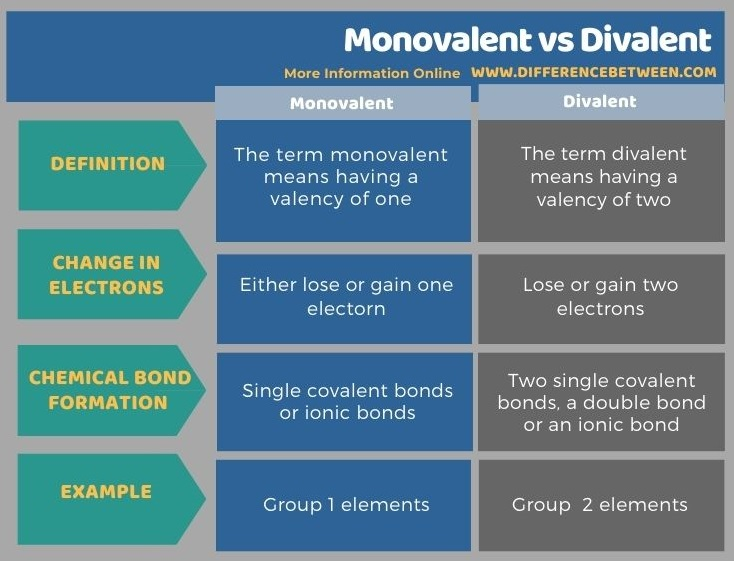 Difference Between Monovalent and Divalent in Tabular Form
