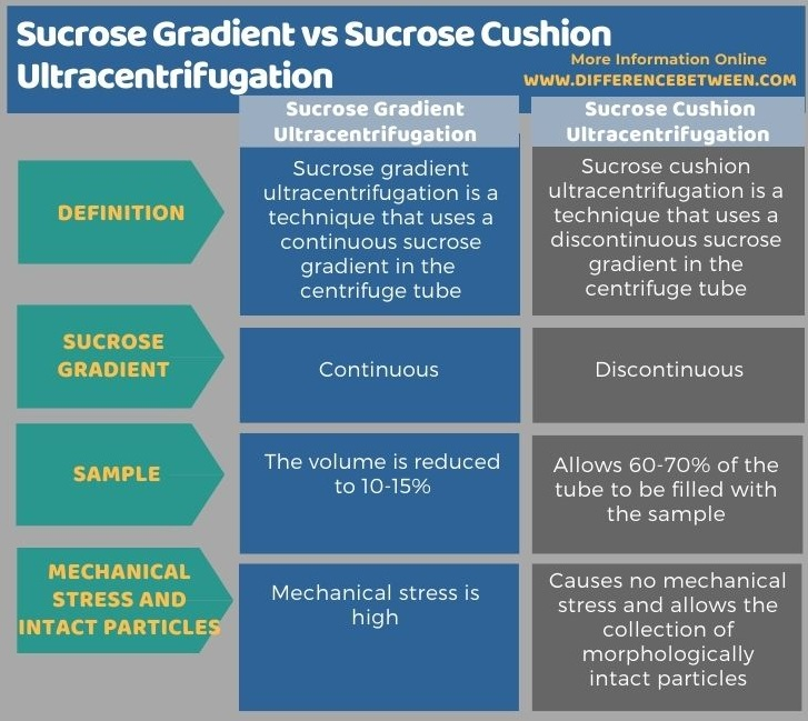 Difference Between Sucrose Gradient and Sucrose Cushion Ultracentrifugation in Tabular Form