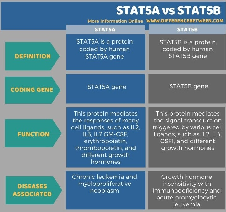 Difference Between STAT5A and STAT5B in Tabular Form
