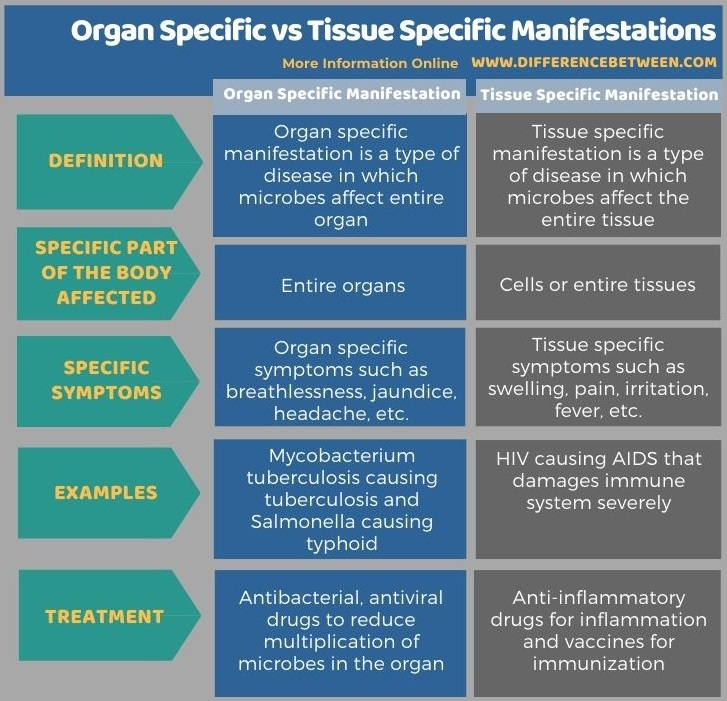 Difference Between Organ Specific and Tissue Specific Manifestations in Tabular Form