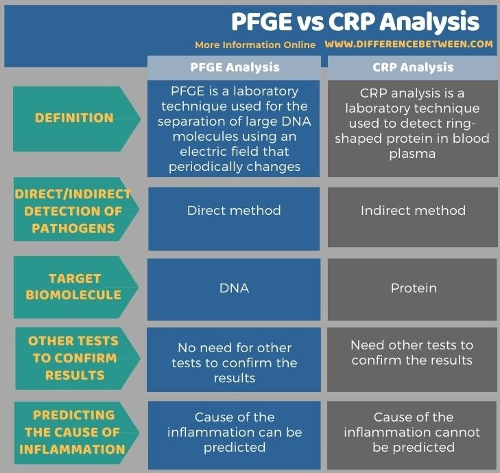 Difference Between PFGE and CRP Analysis in Tabular Form